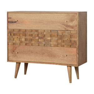 3 Drawer chest tile carved oak-ish solid wood furniture made by hand