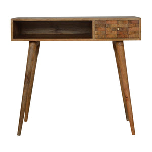 Nordic Tile Carved Writing Desk with Open Slot. Beautifully hand-crafted solid wood furniture. Exclusively available at thecarpenters.co.uk.