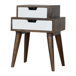 Nordic Walnut and White Painted Bedside. Beautifully hand-crafted solid wood furniture. Exclusively available at thecarpenters.co.uk.