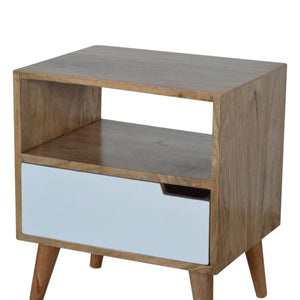 Unique hand-made bedside table with white painted drawer