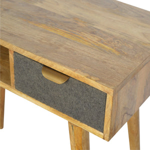 Nordic Writing Desk with One Grey Tweed Fabric Drawer Front. Simple yet elegant writing desk. Hand-crafted to perfection. Exclusively available at thecarpenters.co.uk.