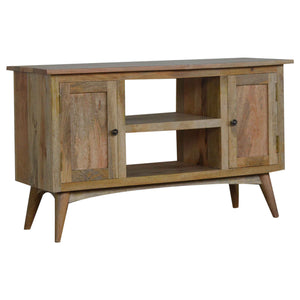 Oak-ish Finish Media Unit with 2 Cabinets and 2 Drawers. Hand-crafted to perfection. Exclusively available at thecarpenters.co.uk.