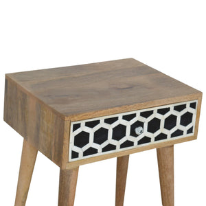 Ossein Inlay Bedside Table. Hand-crafted to perfection. Ideal bedside table but also proven to be handy all over your home! Exclusively available at thecarpenters.co.uk.