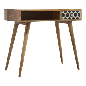 Ossein Inlay Writing Desk with 1 Drawer. Beautifully hand-crafted. Perfect with reading or studying or when you simply need a break. Exclusively available at thecarpenters.co.uk.