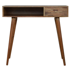 Patchwork Patterned Oak-Ish Writing Desk. Beautifully hand-crafted solid wood furniture. Exclusively available at thecarpenters.co.uk.