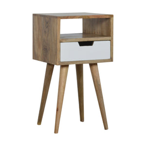 Petite White Painted Bedside Table. Beautifully hand-crafted solid wood furniture. Perfect for minimalist interior. Exclusively available at thecarpenters.co.uk.