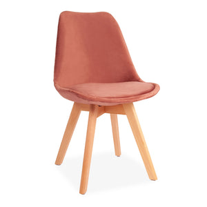 Pink Velvet Tulip Dining Stool with Beech Legs