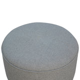 Round Grey Tweed Footstool. Beautifully hand-crafted solid wood furniture. Designed with your comfort in mind. Exclusively available at thecarpenters.co.uk.