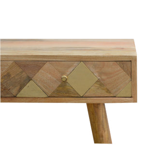 Scandanavian Oak-Ish Gold Brass Inlay Console Table. Perfect addition to your living room or hallway. Beautifully hand-crafted to perfection. Exclusively available at thecarpenters.co.uk.