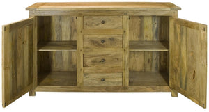 Sideboard with 4 drawers and hand-distressed oak-ish finish.Solid mango wood only available at thecarpenters.co.uk