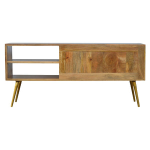 Sleek Cement Brass Inlay Media Unit. Beautifully hand-crafted solid wood furniture. Exclusively available at thecarpenters.co.uk.