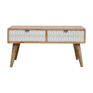 Sleek White Carved Coffee Table. Beautifully hand-crafted solid wood furniture. Exclusively available at thecarpenters.co.uk.