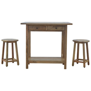 Solid Wood Breakfast Table With 2 Stools. Table set for two. Solid wood furniture. Exclusively available at thecarpenters.co.uk.