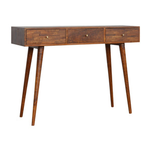 Solid Wood Chestnut Console Table 3 Drawer