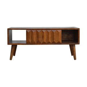 Solid Wood Chestnut Prism Sliding Door Coffee Table. Beautifully hand-crafted solid wood furniture. Exclusively available at thecarpenters.co.uk.