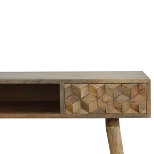 Solid Wood Nordic Style Cube Carved Writing Desk. Beautifully hand-crafted solid wood furniture. Add this beauty to your home. Exclusively available at thecarpenters.co.uk.