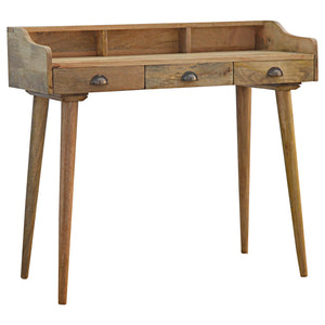 Solid Wood Nordic Style Gallery Writing Desk with 3 Drawers. Simple yet elegant addition to your living room or bedroom. Hand-crafted to perfection. Exclusively available at thecarpenters.co.uk.