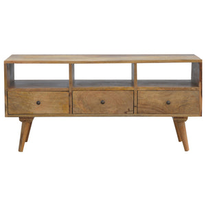 Solid Wood Nordic Style TV Stand With 3 Drawers. Beautifully hand-crafted solid wood furniture. Exclusively available at thecarpenters.co.uk.