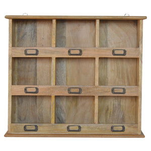 Solid Wood Wall Mounted Storage Unit with 9 Slots. Beautifully hand-crafted solid wood furniture. Exclusively available at thecarpenters.co.uk.