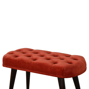 Sophós Deep Button Bench in Brick Red Cotton Velvet. Hand-crafted to perfection. This elegant looking chair is exclusively available at thecarpenters.co.uk.