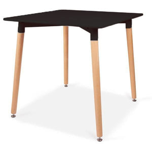 Square Dining Table 80cm 4 seater in Black with Wooden Legs