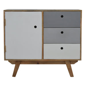 Two Tone Hand Painted Hole Cut-out Cabinet. Ideal addition to modern homes and apartments. Hand-crafted to perfection. Exclusively available at thecarpenters.co.uk.