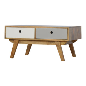 Two Tone Hand Painted Hole Cut Out Coffee Table. Nordic style solid wood furniture. Hand-crafted to perfection. Exclusively available at thecarpenters.co.uk.