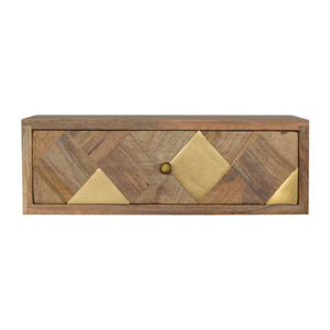 Solid wood wall mounted bedside with brass inlay pattern drawer