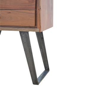 Beautiful two drawer bedside in caramel color with iron legs