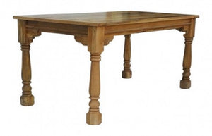 Dining table with turned legs oak-ish solid wood furniture made by hand