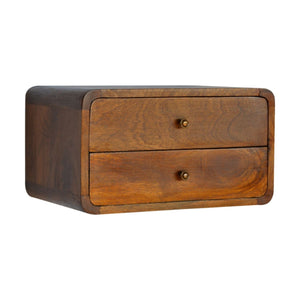 Bedside wall mounted wooden curved in chestnut, solid wood furniture made by hand also for storage and display