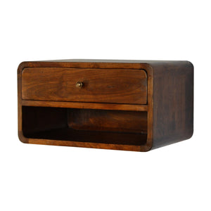 Bedside wall mounted wooden curved in chestnut with open slot, solid wood furniture made by hand also for storage and display