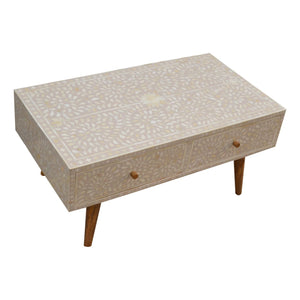 Coffee Table wooden floral bone inlay with two large drawers, a solid wood furniture made by hand