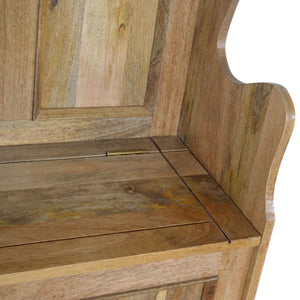 Solid wood small storage bench in oak effect
