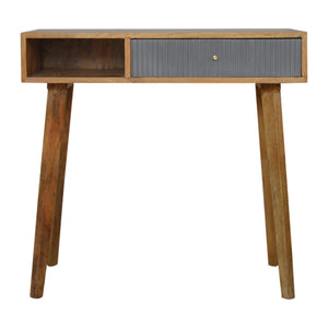 Writing desk with gray painted drawer oak-ish solid wood furniture made by hand