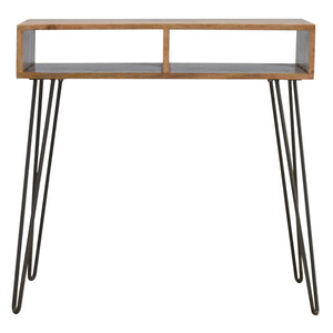 Writing Desk With Stool In Iron. Beautifully hand-crafted solid wood furniture. Inspired by vintage design. Exclusively available at thecarpenters.co.uk.