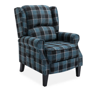 Blue Checked Fab Recliner Armchair with Wood Feet