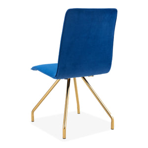 2 pcs Blue Cindy Upholstered Spider Leg style Dining Stool