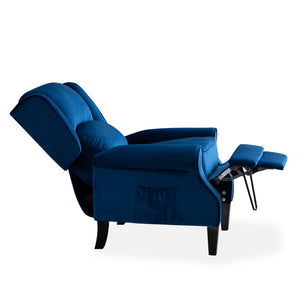 Blue Plush Velvet Recliner Armchair with Wood Feet