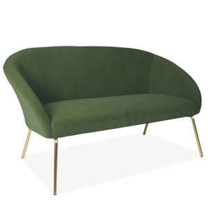 Green Velvet Two Seater Sofa with Gold Legs