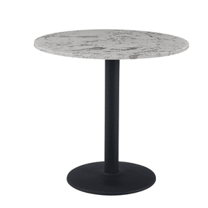Luxury White Round Dining Table 80cm with Black Leg