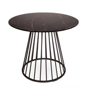 Black Liverpool Marble Dining Table with Black Legs 100cm