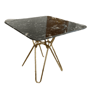 Modern Black Square Hairpin Dining Table with Gold Leg