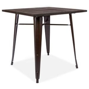 Retro Tolix Style Black Metal Dining Table With Wooden Top Tall Brown
