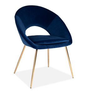 Blue Open Back Dining Stool With Gold Legs