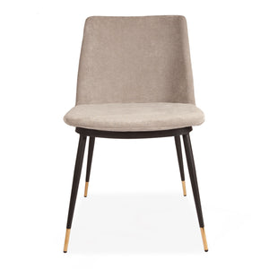 2 pcs Grey Messi Dining Stool with Black Legs and Detailed Gold Feet