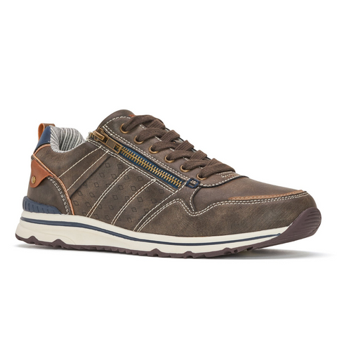 Men's Lace-Up Sneaker in Brown