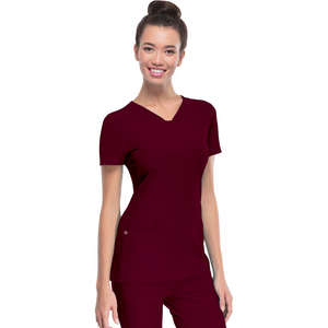 Women's HeartSoul Scrub Top in Wine