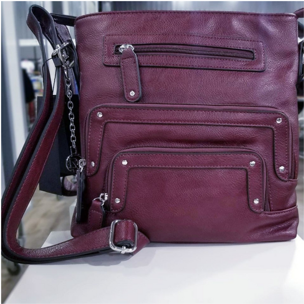 Burgundy/Wine Cross Body Handbag PU