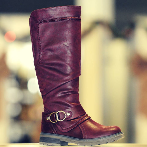 Women's ESTA Medium Calf Tall Lined Waterproof Boot in Burgundy